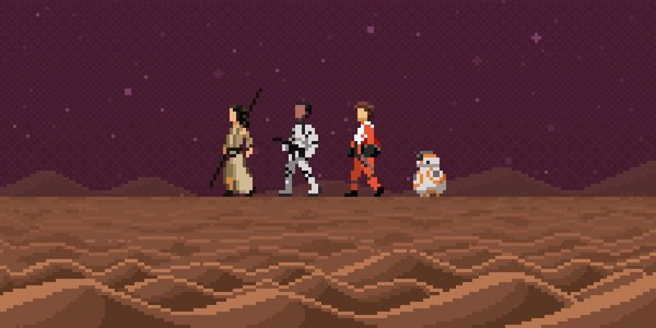 Пиксиализация Силы star wars, star wars episode 7, Pixel art, bb-8, Хан Соло, R2D2, C-3PO, люк скайвокер