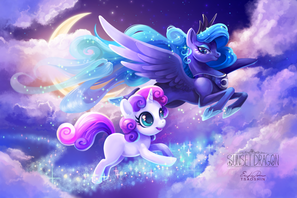 Dream Walker my little pony, ponyart, Sweetie Belle, princess luna