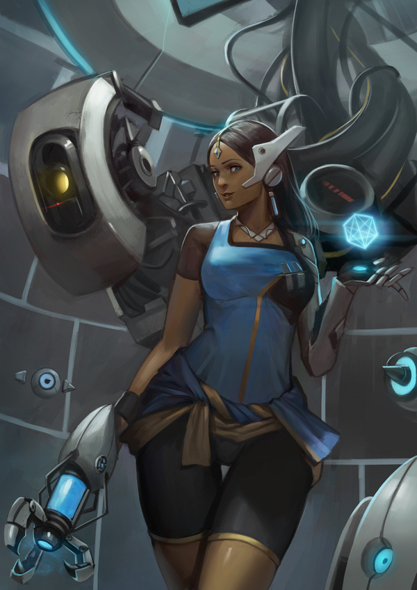 Symmetra and GLaDOS overwatch, portal, crossover, арт