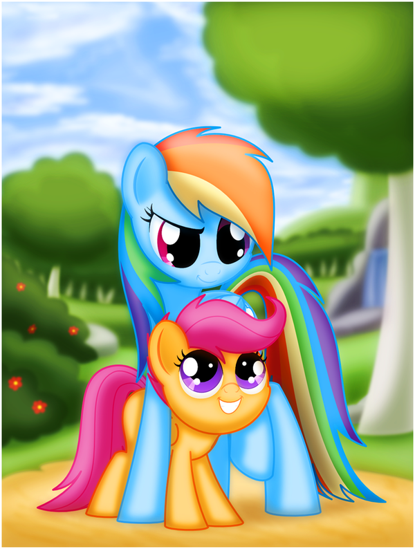 My Sister my little pony, ponyart, rainbow dash, Scootaloo