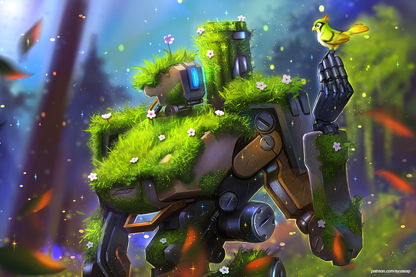 Bastion and Ganymede арт, overwatch, bastion
