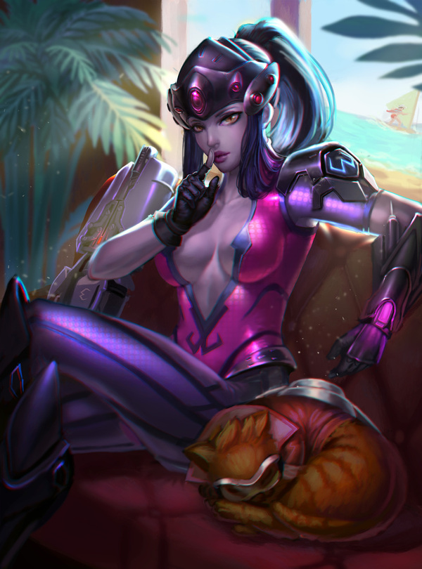 Overwatch art Overwatch, Pharah, Widowmaker, Mercy, Dva, Witch Mercy, красивая девушка, Игры, длиннопост