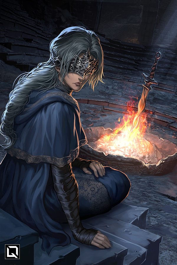 I tend to the flame, and tend to thee арт, Игры, dark souls, Dark Souls 3, Fire Keeper