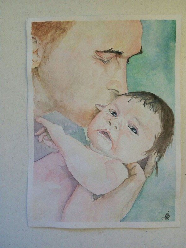 Father and daughter Watercolour, акварель, рисунок