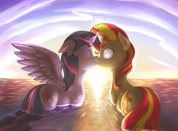 Урок дружбы. shydale, Twilight Sparkle, Sunset Shimmer, Trixie, Шиппинг, mlp lesbian, поцелуй, my little pony