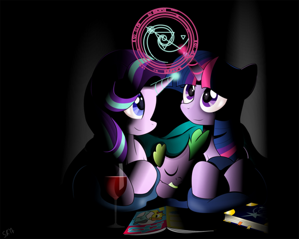 Discussing Magic my little pony, ponyart, Twilight Sparkle, Starlight Glimmer, Spike