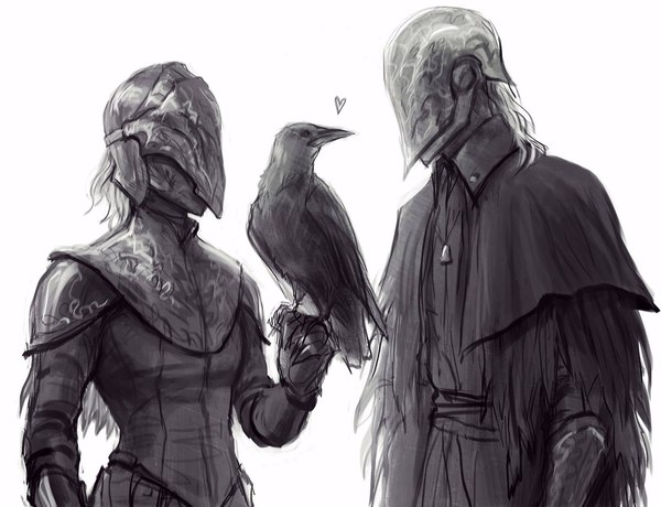 Raven and Crow dark souls, Dark Souls 3, Yuria of Londor, Bloody Crow of Cainhurst, crossover, Bloodborne