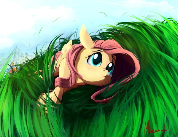 Lonely My Little Pony, ponyart, Fluttershy, rainbow dash