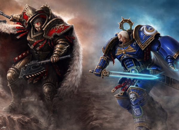 Roboute Guilliman vs Angron Warhammer 40k, wh art, примархи, жилиман, Angron
