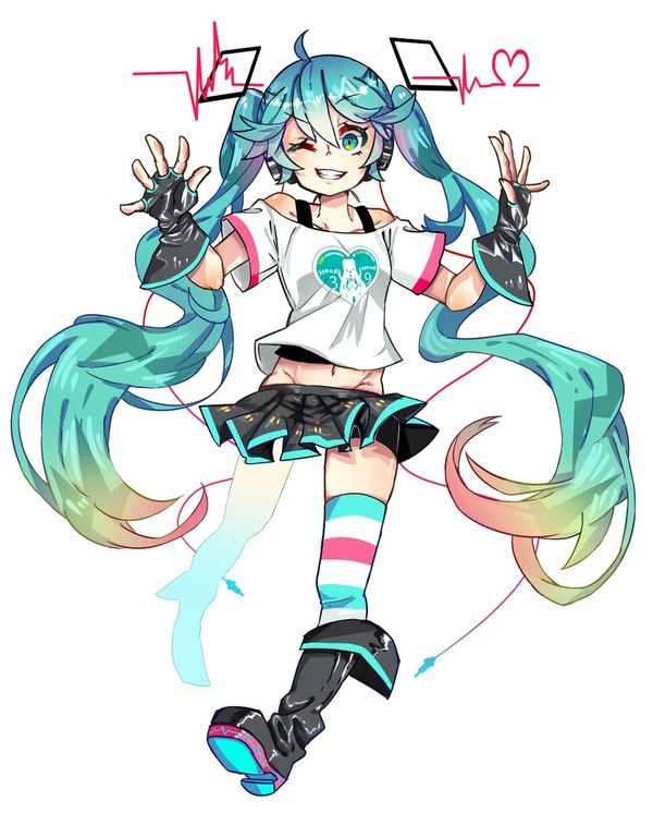Hatsune Miku аниме, vocaloid, Hatsune Miku, anime art, длиннопост