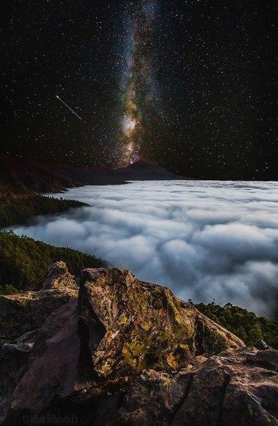 Млечный путь над островом Тенерифе. Млечный путь, Остров, Тенерифе, Канарские острова, Испания, Интернет