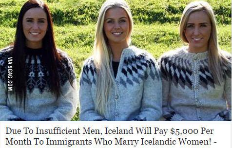 Нехватка мужчин Фейк, 9gag, Исландская жена, Свадьба, Исландия, Прекрасная страна, Исландцы, Иммиграция