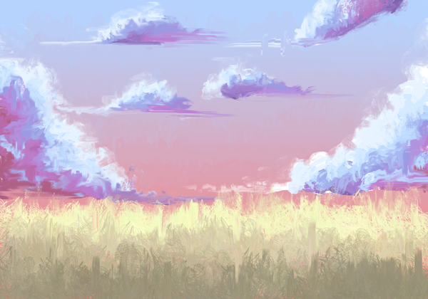 Облачка XtDr, рисунок, арт, Небо, облака, поле, пшеница, мазня