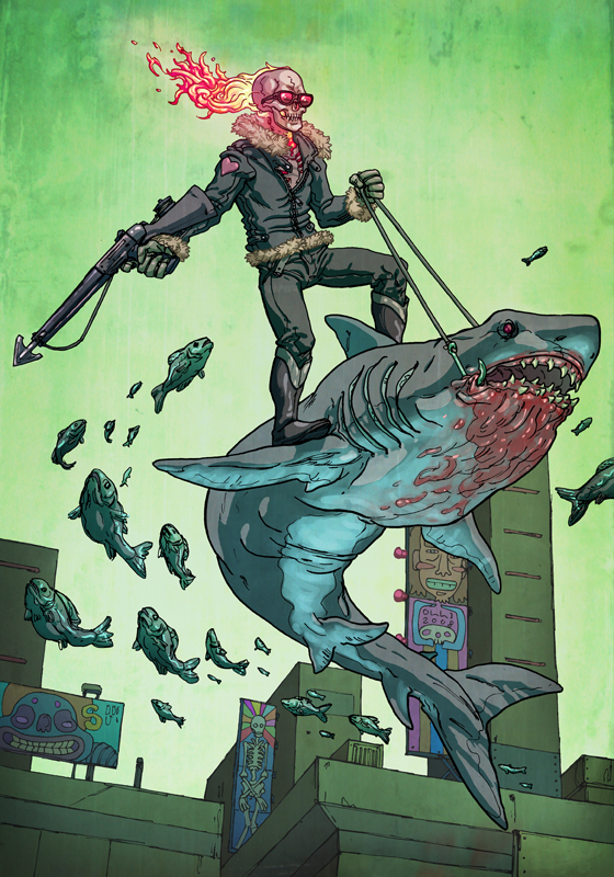 Ghost Rider riding a shark