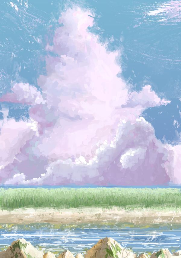 Под покровом Небес. XtDr, рисунок, мазня, поле, река, берег, облака, Небо, длиннопост