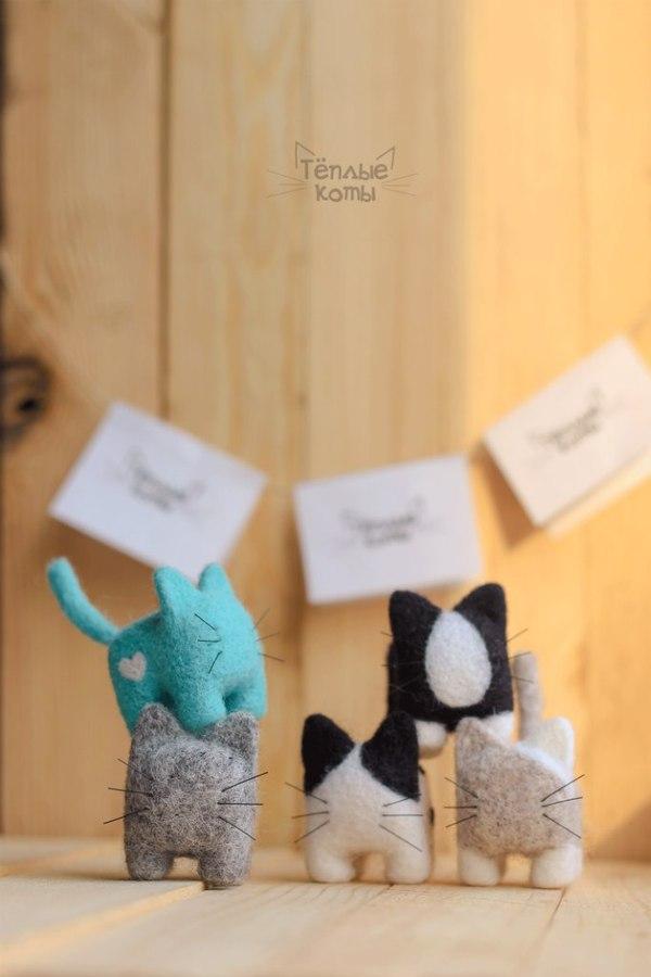 Мини-котики ручная работа, кот, игрушка Handmade, сухое валяние, творчество, длиннопост
