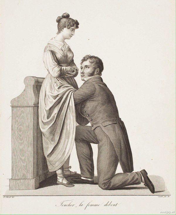 Жак Пьер Мегре. Лечение истерии массажем, 1822 г. Литография