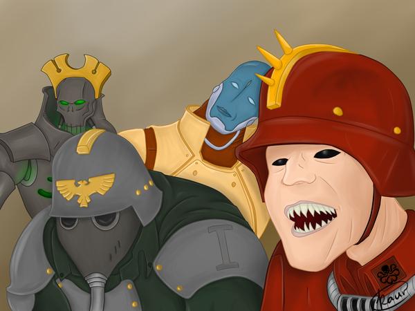 Как оно?) Warhammer, Warhammer 40k, Имперская гвардия, Tau, Necrons, Kaur, Рисунок