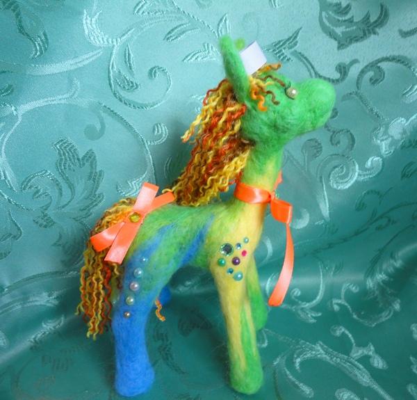 Пони из шерсти сухое валяние, пони, ручная работа, моё, игрушка из шерсти, длиннопост