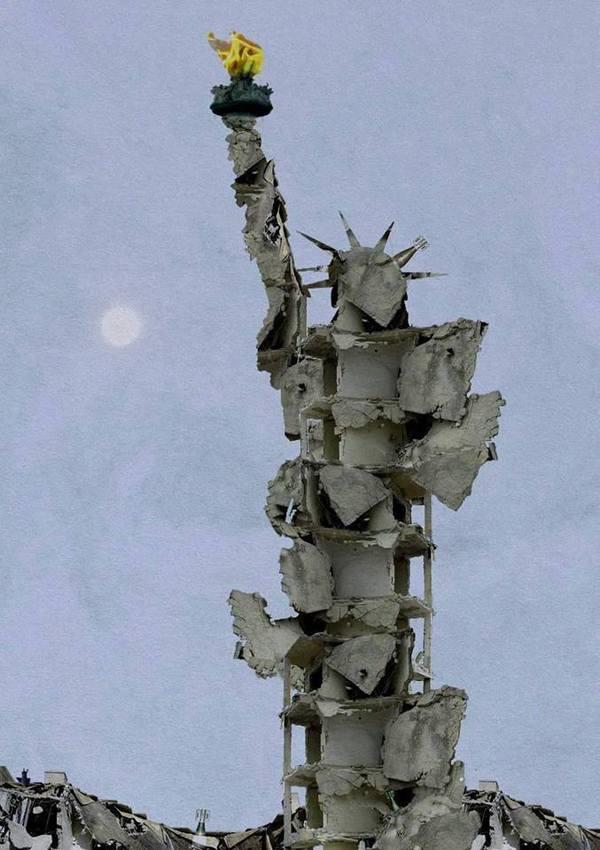 Свобода Алеппо, Американская свобода, Сирия, Статуя, Обломки, Говорят, Что фотошоп, Photoshop