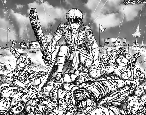 """""""До последней болт-ленты. До последней капли крови..."""" (by Gray-Skull) Warhammer 40k, warhammer, комиссар, Комиссар Райвель, имперская гвардия, культисты, Gray-Skull"""