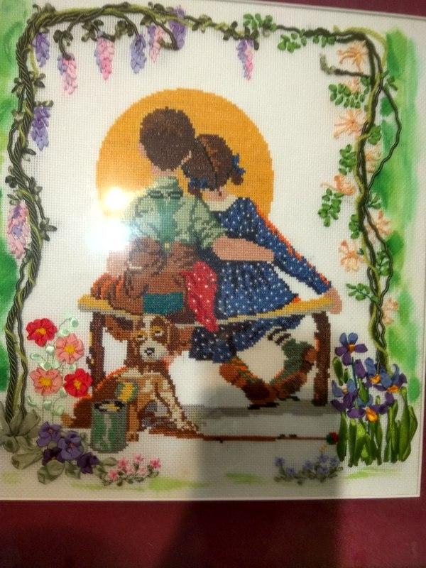Вот такую красотищу нам вышила моя любимая мамочка.... моё, вышивка, подарок от мамы, мама, <em>от мамы к маме вышивка</em> Дети, на память, длиннопост