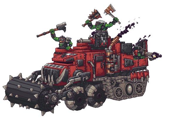 Pixel WAAAAAAAAAgon Steeljoe, Warhammer 40k, Орки, Гифка, Pixel Art, Orks