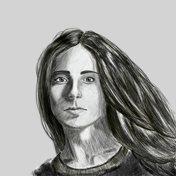 Портрет девушки Рисунок, Девушки, Photoshop, Карандаш, Портрет