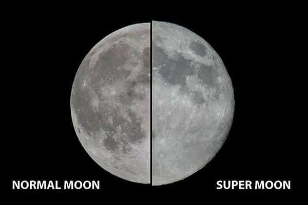 Нормальная луна и супер луна
