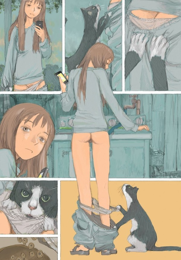 Настойчивый кот Комиксы, Кот, Девушки, Kenji Tsuruta, Длиннопост