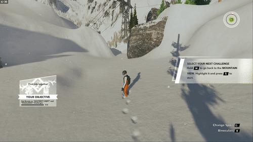 Любил делать так в детстве, или симулятор следов на снегу:) Steep, Бейсджампинг, Следы, Игры, Гифка