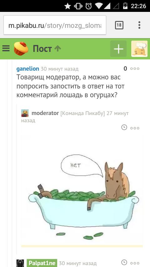 Когда модератор делает всё по своему Модератор, Лошадь в ванне с огурцами, Коментарии наше все, Комментарии