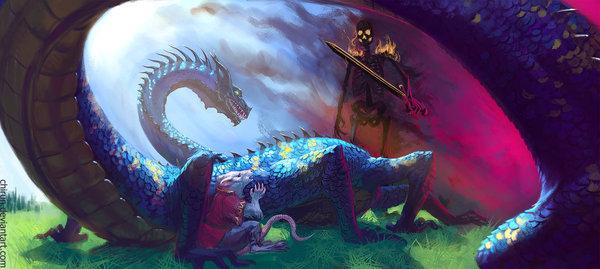 The Summoner арт, summoner, дракон, крыса, горящий скелет, непонятки