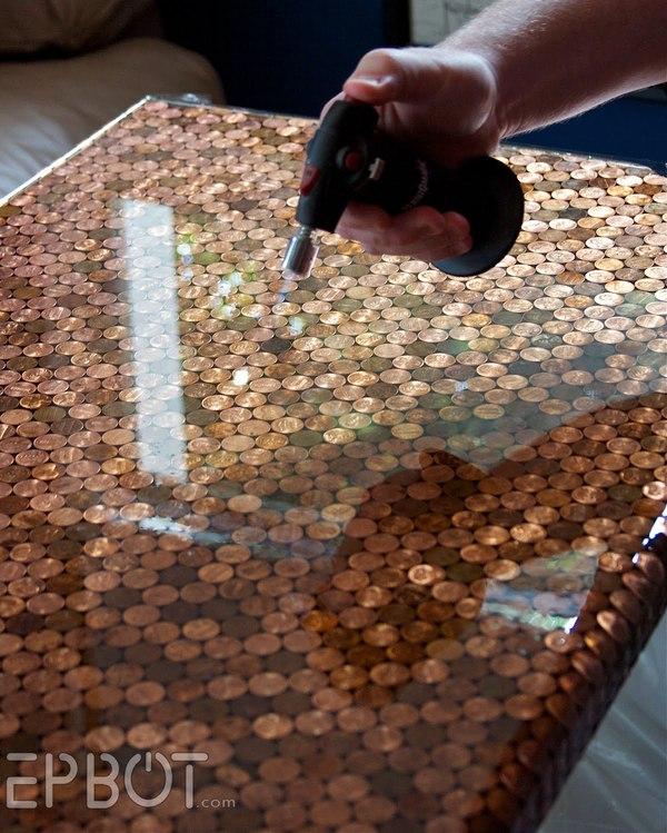 Столешница из монеток Стол, Крафт, Монета, Ðпоксидная смола, Мелочь, Длиннопост