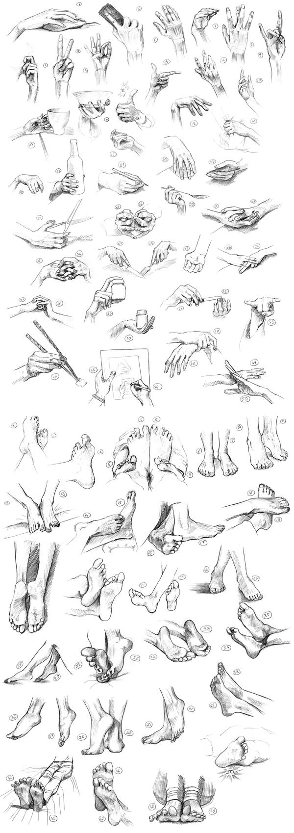 Способ научиться рисовать кисти и ступни. Руки, Ноги, Графика, Скетч, Набросок, Карандаш, Рисунок, Длиннопост