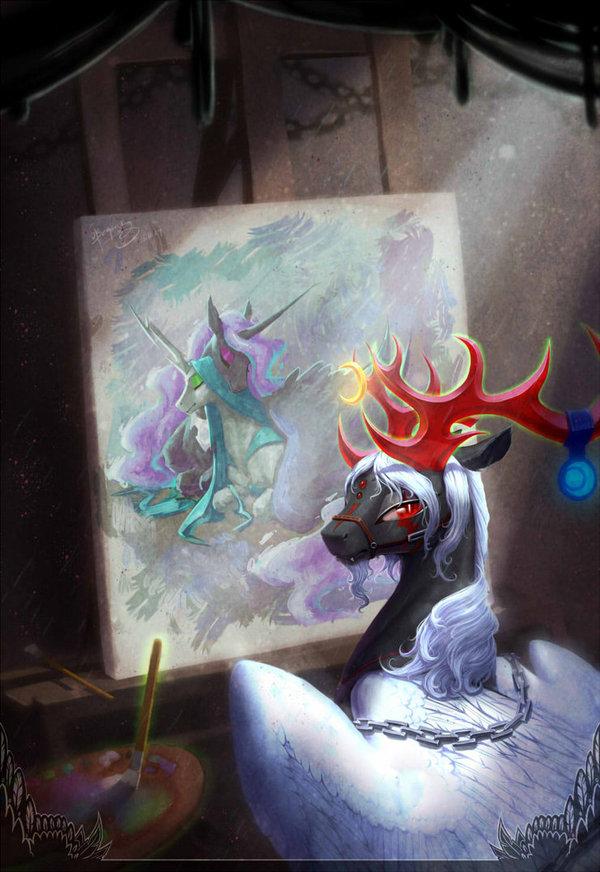 Drawing My little pony, Nightmare moon, Queen Chrysalis, Шиппинг, Mlp lesbian, Ponyart