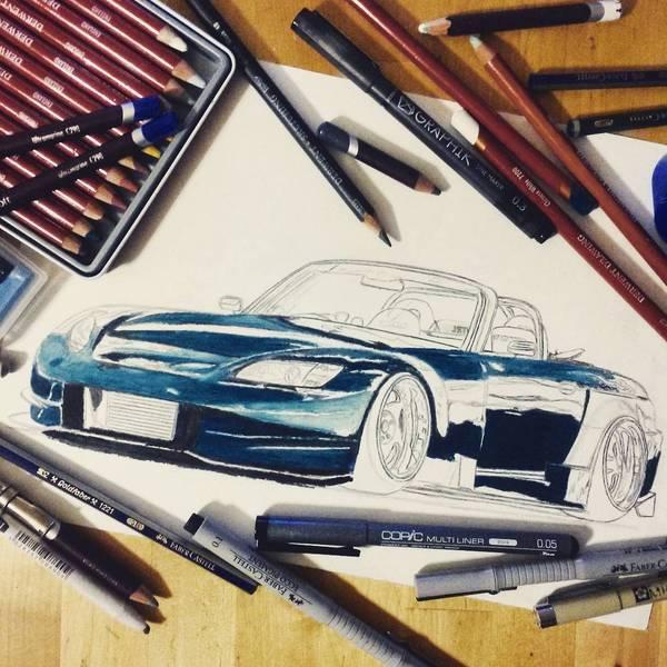 Honda S2000 для своей стены :) Honda, JDM, Арт, Рисунок, Машина, Иллюстрации, Длиннопост