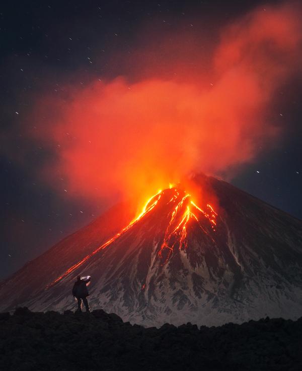 Извержение Ключевской сопки Фото: Сергей Макурин Фото, извержение, Ключевская сопка, Россия