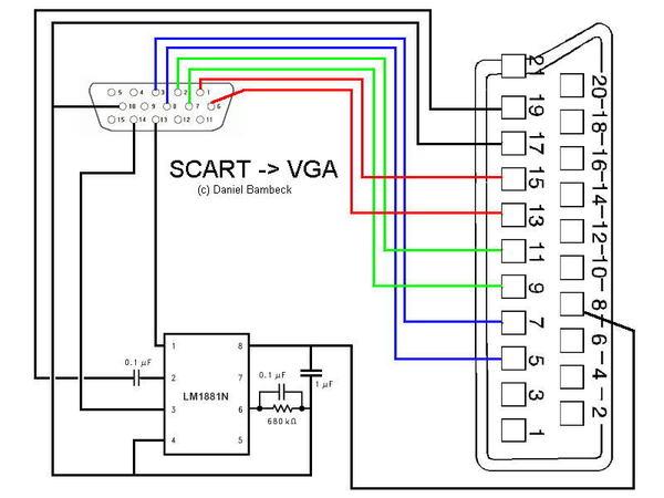 Подключение телевизора к компьютеру (VGA - SCART) SCART, VGA, подключение, распиновка, длиннопост