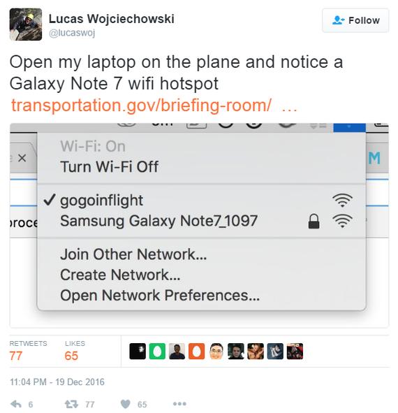 Рейс пассажирского самолета был задержан из-за названия WiFi точки самолет, virgin america, Samsung, шутка, Galaxy note 7