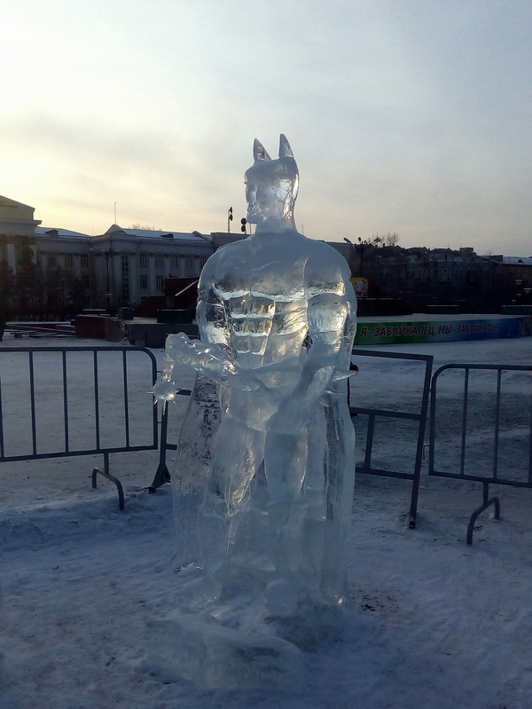 Этому городу нужен новый герой Бэтмен, Ледяная скульптура, Новый Год, Чита