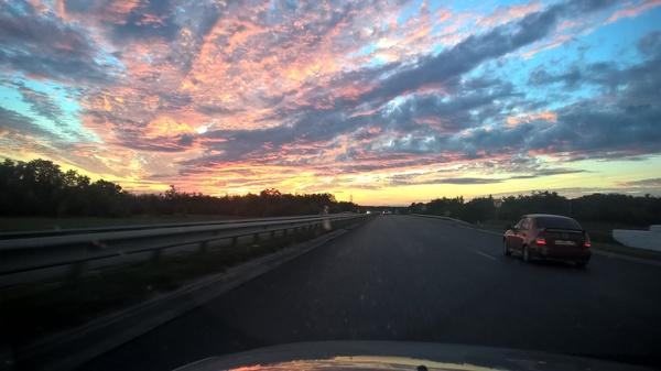 Летний закат на трассе М4 Фото, Трасса, М4, Дон, Закат, Лето, 2016, Россия