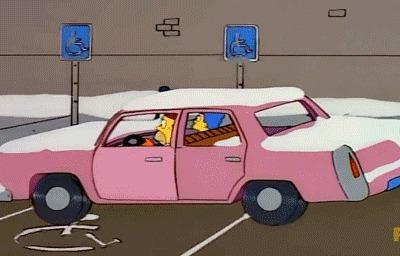 Неправильная парковка в исполнении Гомера Гифка, Симпсоны, Парковка, Инвалид, Гомер Симпсон