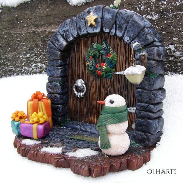 Новогодняя волшебная дверка под ёлку OlhaARTS, полимерная глина, handmade, Новый Год, светится в темноте, длиннопост