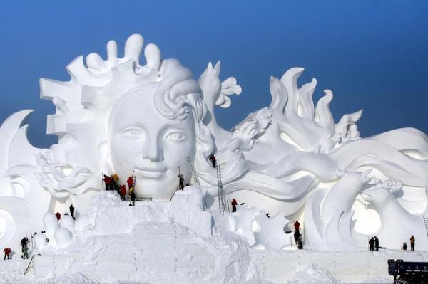 Фотографии с подготовки к Харбинскому международному фестивалю льда и снега Харбин, Китай, Скульптура, Фестиваль, 2017, Снег, Ледяная скульптура, Длиннопост
