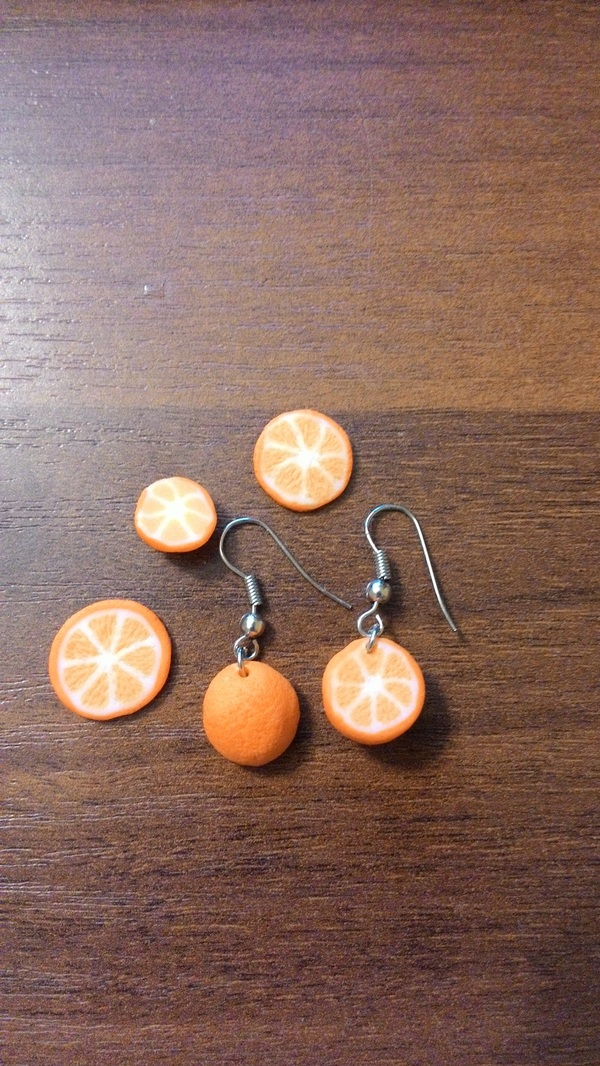 Серьги-апельсины, игрушки, брошки и первый опыт отправления своих работ Рукоделие, Полимерная глина, Пятничное, Игрушки, Длиннопост