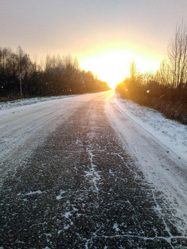 Дорога в солнце Моё, Солнце, Зима, Дорога, Фото
