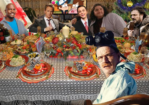 Новогодний стол для любителей сериалов Новый Год, все ненавидят Криса, Breaking bad, Игра престолов, остаться в живых, Как я встретил вашу маму, Шелдон