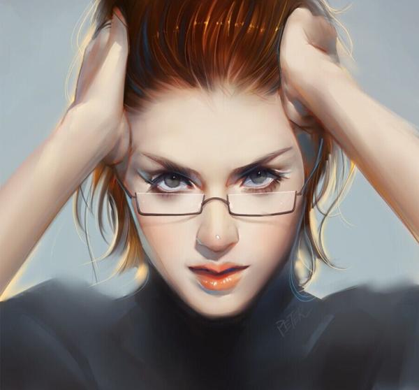 Мастурбация девушки в очках