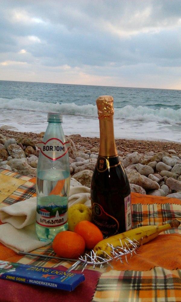 1 января в крыму Крым, 1 января, Новый Год, Берег, Шампанское, Мандарины, Мишура, Длиннопост